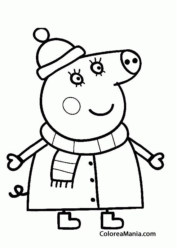 Colorear Mama Pig En La Nieve Peppa Pig Dibujo Para