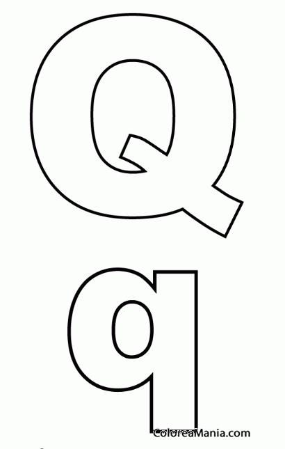 Colorear Letra Q, q (Abecedarios), dibujo para colorear gratis