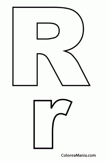 Colorear Letra R, r (Abecedarios), dibujo para colorear gratis