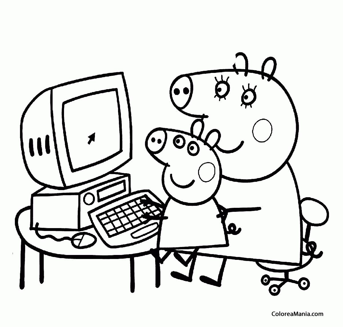 Colorear Mama Pig y Peppa Pig en el ordenador (Peppa Pig), dibujo