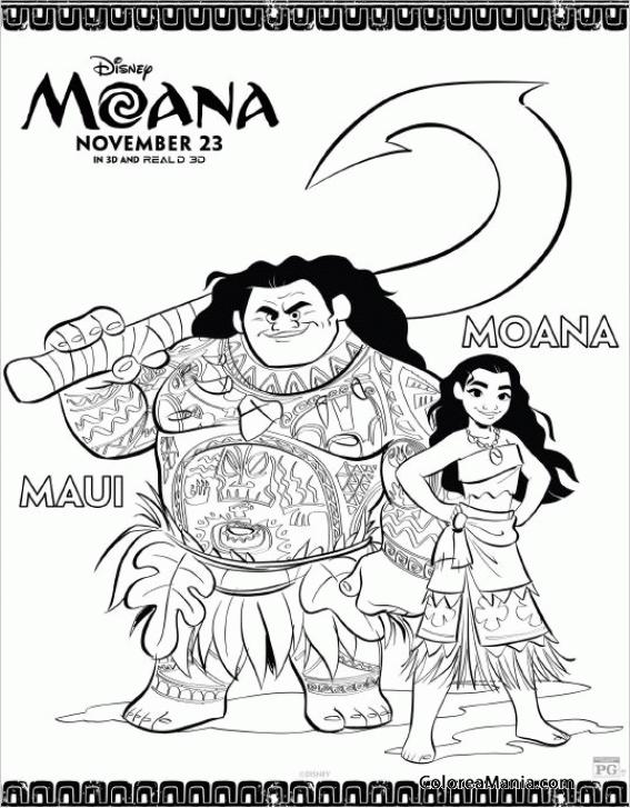 Colorear Vaiana Maui Y Moana Vaiana Dibujo Para Colorear Gratis