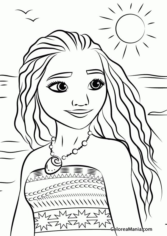 Colorear Princesa Moana 2 Vaiana Dibujo Para Colorear Gratis