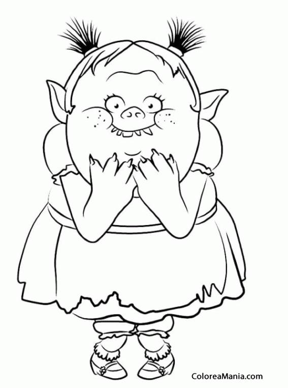 Colorear Bridget Trolls (Trolls), dibujo para colorear gratis