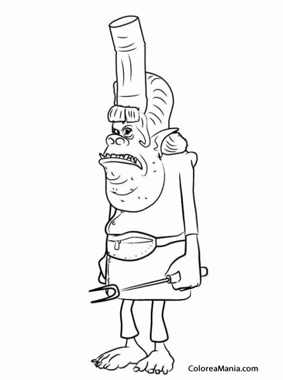 Colorear Chef Trolls Trolls Dibujo Para Colorear Gratis