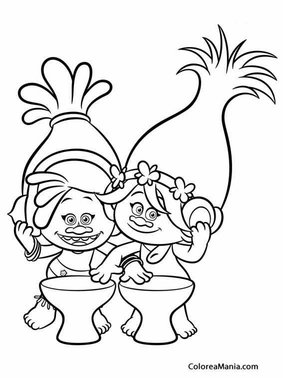 Colorear Dj Suki Y Poppy 2 Trolls Dibujo Para Colorear Gratis