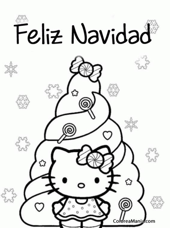 Colorear Feliz Navidad Con Hello Kitty Navidad Dibujo Para