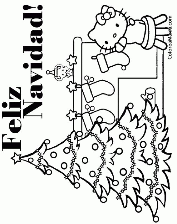 Colorear Feliz Navidad Con Hello Kitty 2 Navidad Dibujo Para