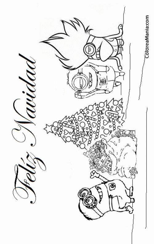 Colorear Feliz Navidad Minions Navidad Dibujo Para Colorear Gratis
