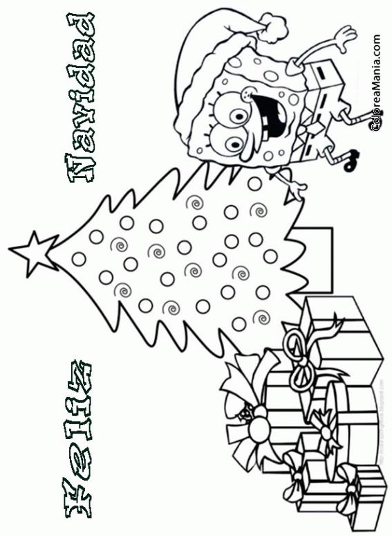 Colorear Feliz Navidad Bob Esponja Navidad Dibujo Para Colorear