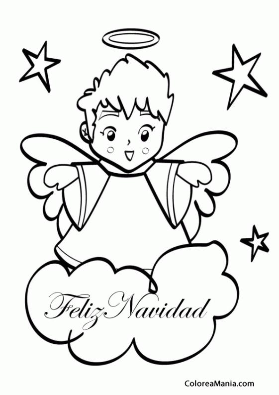 Colorear Feliz Navidad ángel (Navidad), dibujo para colorear gratis