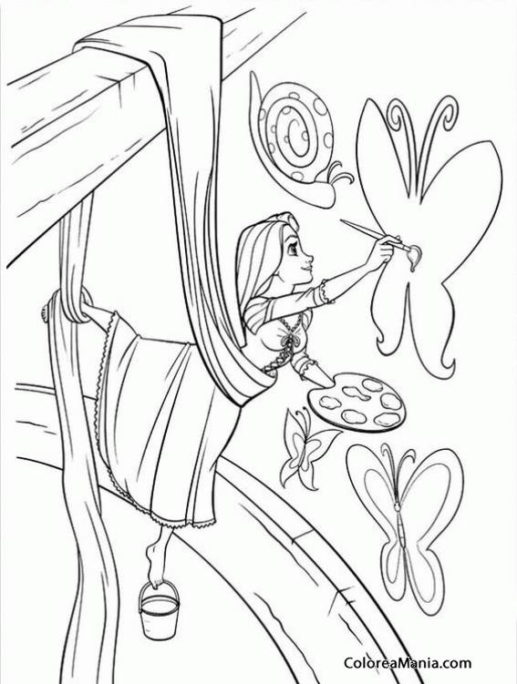 Colorear Rapunzel 2 Enredados Rapunzel Dibujo Para