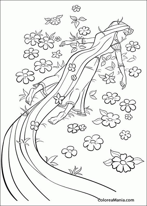Colorear Rapunzel Con Flores Enredados Rapunzel Dibujo