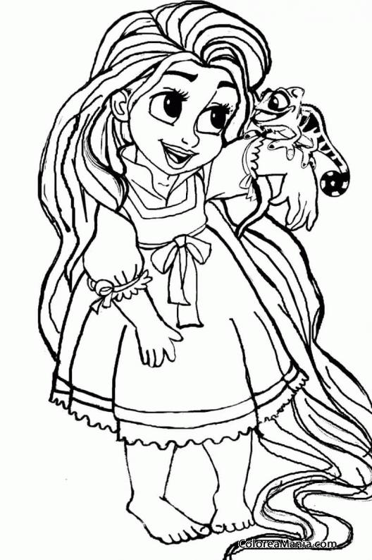 Colorear Rapunzel De Pequeña Enredados Rapunzel Dibujo