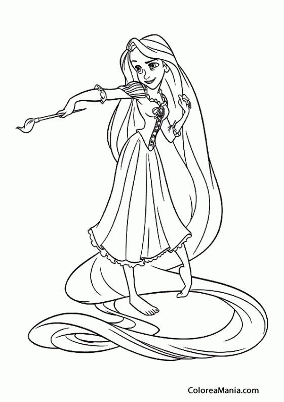 Colorear Rapunzel Pintando 2 Enredados Rapunzel Dibujo Para