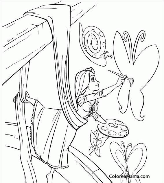 Colorear Rapunzel Pintando Una Mariposa Enredados Rapunzel