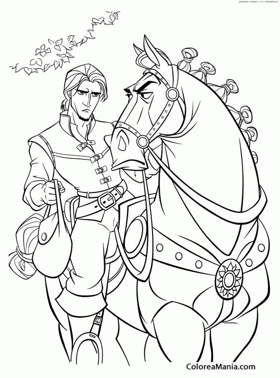 Colorear Flynn y su caballo Enredados  Rapunzel dibujo para