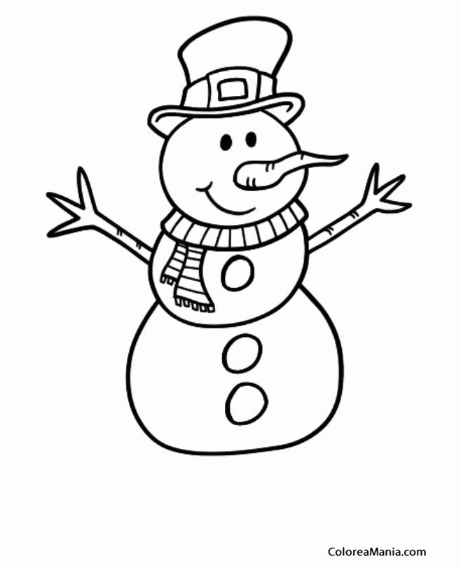 Colorear Mueco de Nieve para colorear 2 (Navidad), dibujo