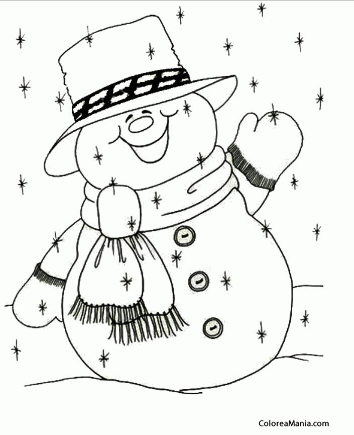 Colorear Mueco de Nieve para colorear 4 (Navidad), dibujo