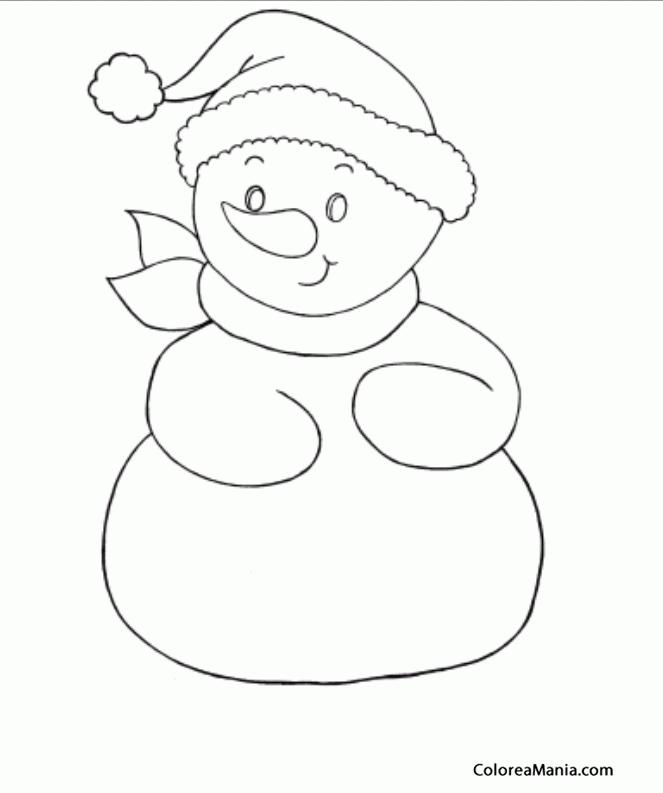 Colorear Mueco de Nieve para colorear 6 (Navidad), dibujo
