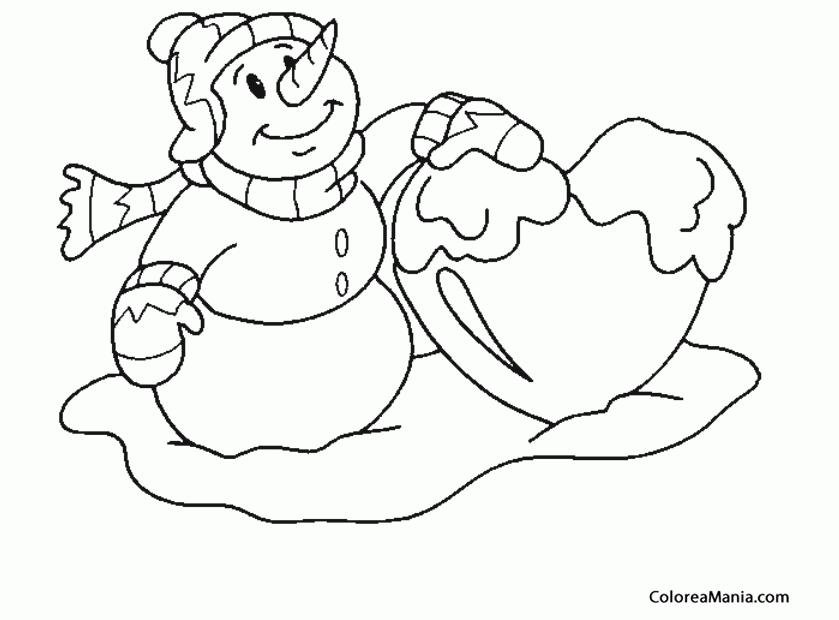 Colorear Muñeco de Nieve y un corazón nevado (Navidad), dibujo para ...
