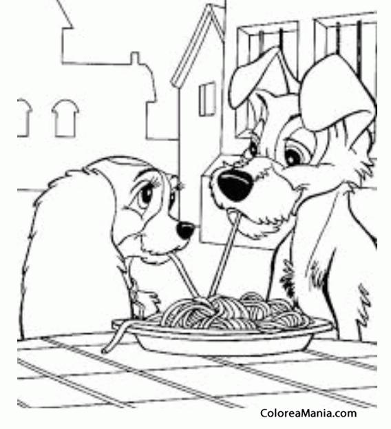 Colorear La Dama y el Vagabundo comen espaguetis (Clásicos Disney ...