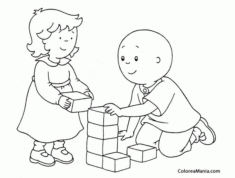 Colorear Caillou y Rosie jugando (Caillou), dibujo para colorear