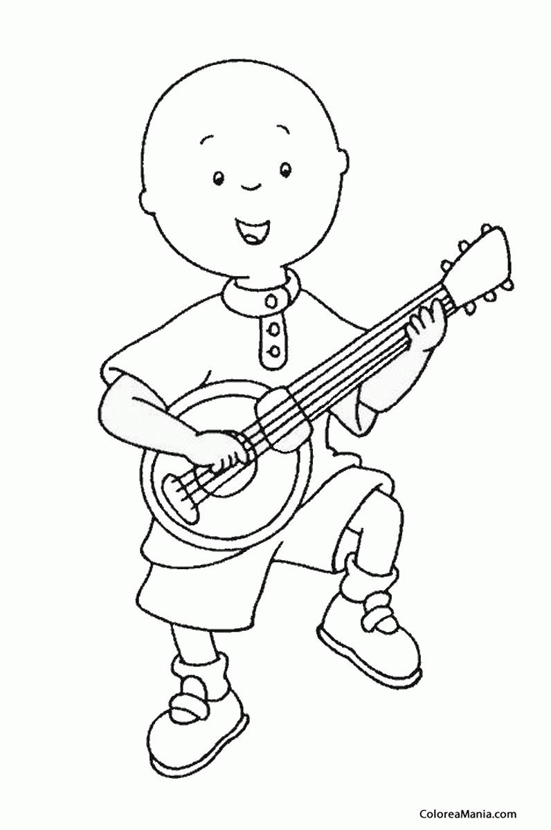 Colorear Caillou Tocando La Guitarra Caillou Dibujo Para Colorear