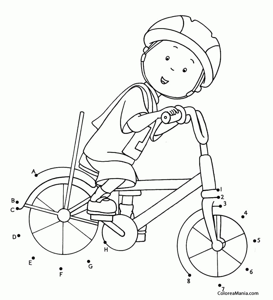 Colorear Caillou en bicicleta (Cine y TV), dibujo para colorear gratis