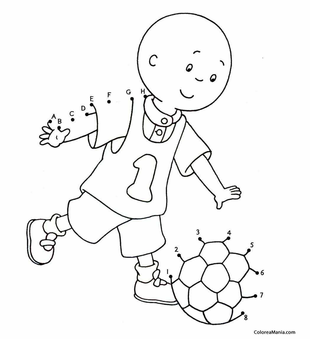 Colorear Caillou jugando a la pelota Cine y TV dibujo para