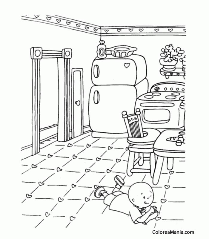 Colorear Caillou En La Cocina Caillou Dibujo Para Colorear Gratis
