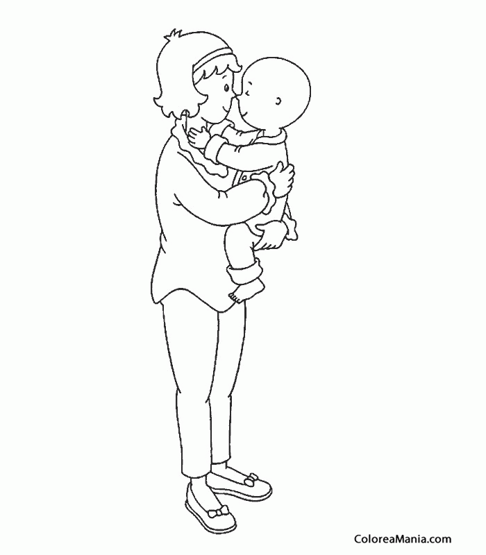 Colorear Caillou Y Su Mamá Caillou Dibujo Para Colorear