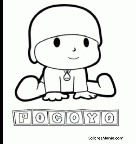 Colorear Pocoyo Sentadito Y Su Nombre Pocoyo Dibujo Para