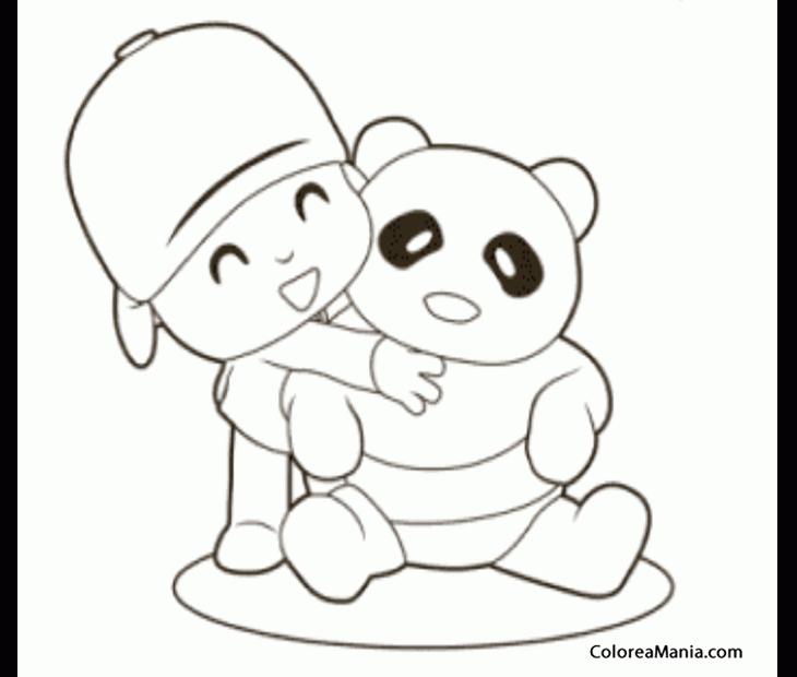 Colorear Pocoyo Abraza Un Osito Panda Pocoyo Dibujo Para