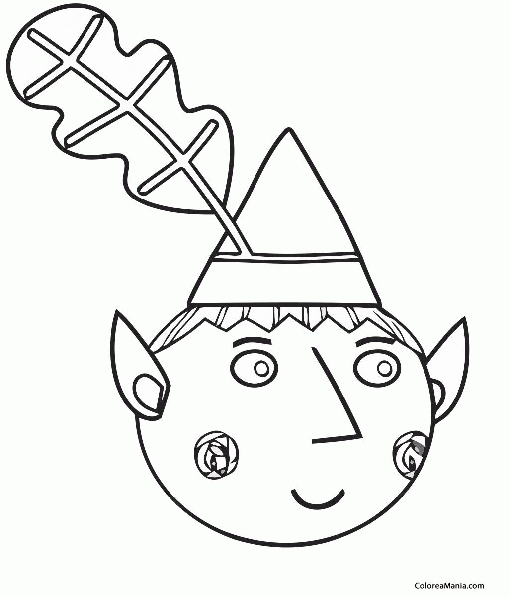 Colorear Ben cabeza (Ben y Holly), dibujo para colorear gratis