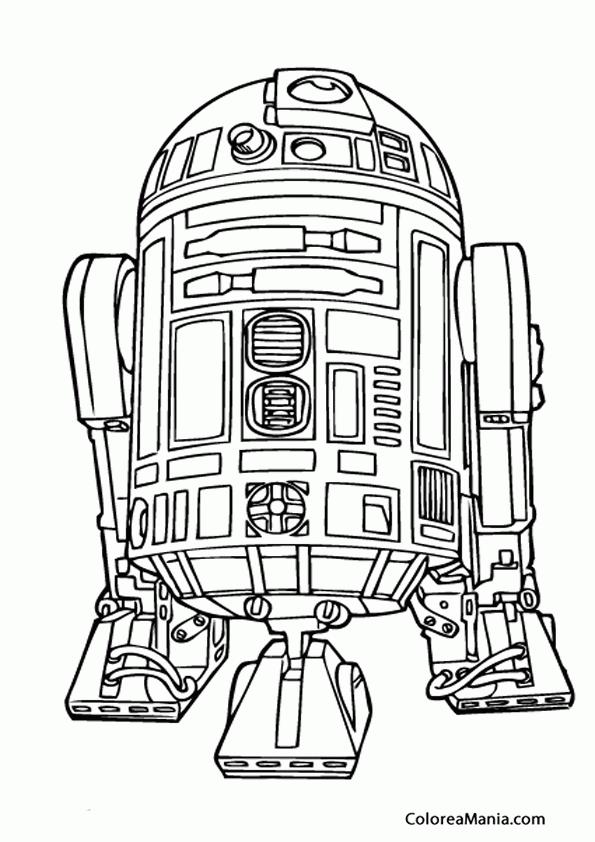 Colorear R2-D2 (Star Wars), dibujo para colorear gratis