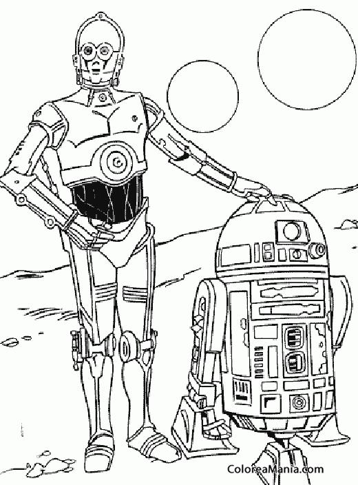 Colorear C-3PO y R2-D2 2 (Star Wars), dibujo para colorear gratis