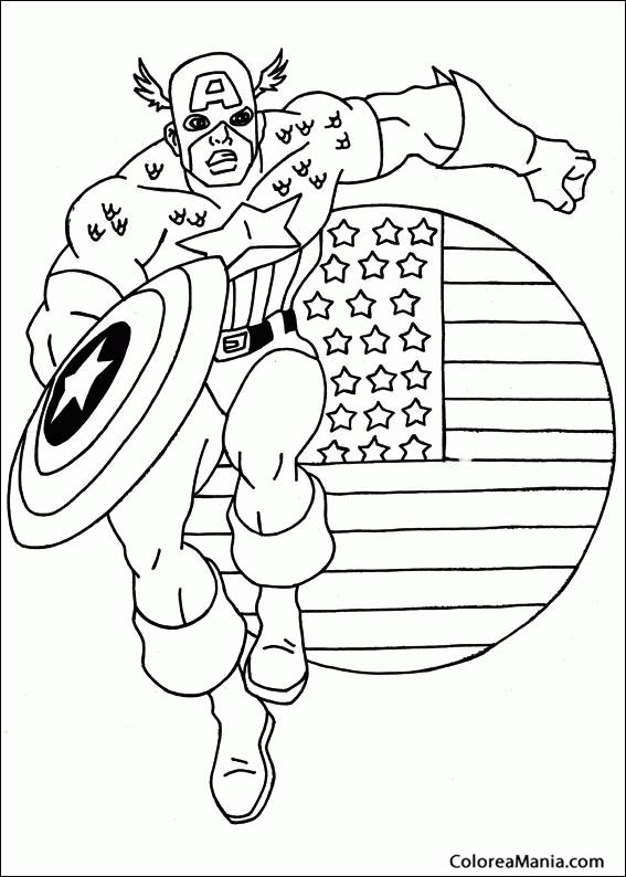 Colorear Capitán América 03 Capitán América Dibujo Para