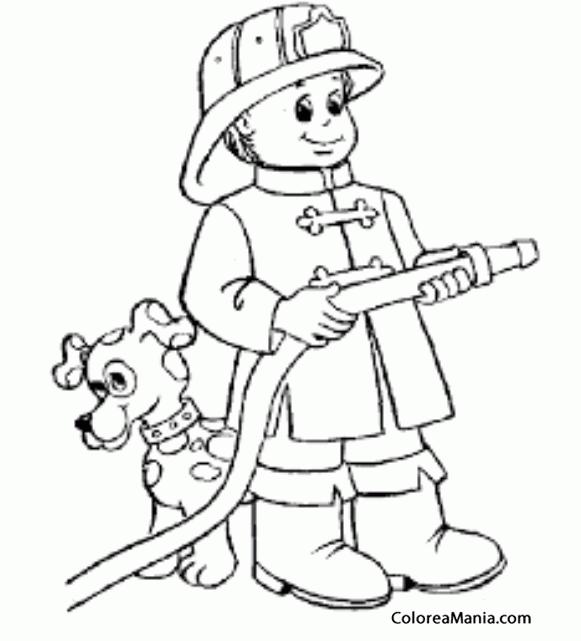Colorear Bombero con perro dlmata Bomberos dibujo para