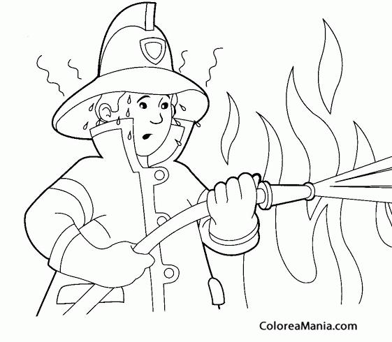 Colorear Bombero Sudando Ante El Fuego Bomberos Dibujo Para