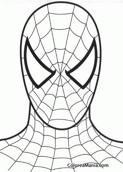 Colorear Spiedrman máscara (Spiderman), dibujo para colorear gratis