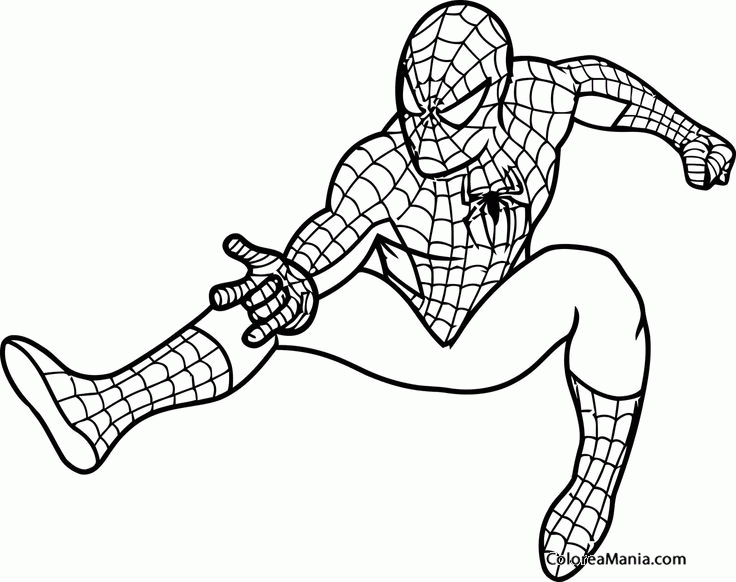 Spiderman Para Colorear Gratis: Colorear Spiderman 02 (Spiderman), Dibujo Para Colorear Gratis