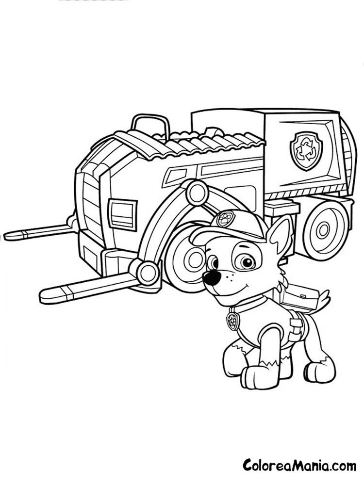 Colorear Rocky Y Su Camión De Reciclaje Patrulla Canina