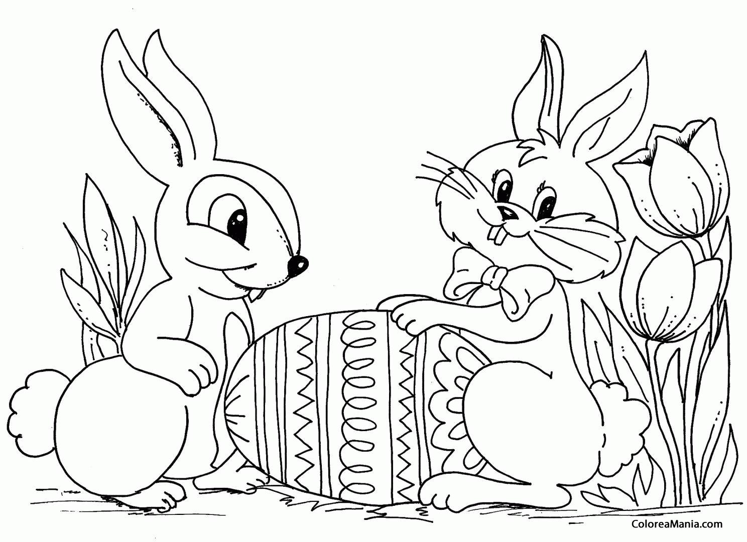 Colorear Conejos con huevos de Pascua (Animales de Granja), dibujo ...
