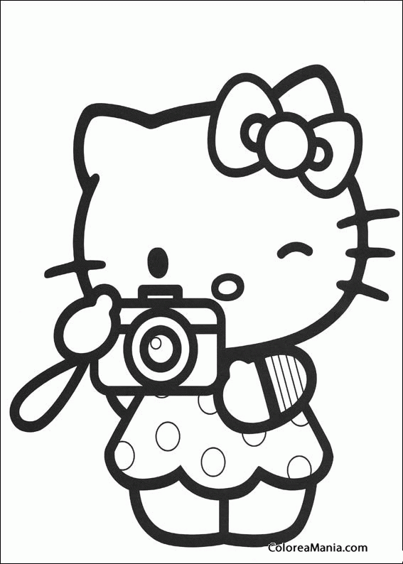 Colorear Hello Kitty Con Una Cámara De Fotos Hello Kitty