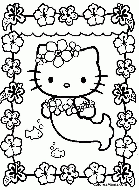 Colorear Hello Kitty De Sirena Hello Kitty Dibujo Para
