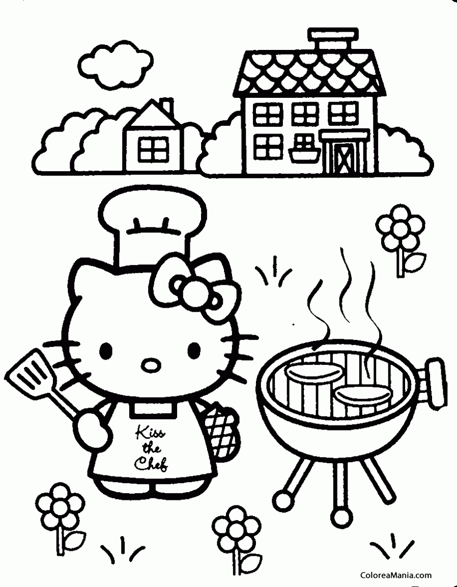 Colorear Hello Kitty Cocina En La Barbacoa Hello Kitty