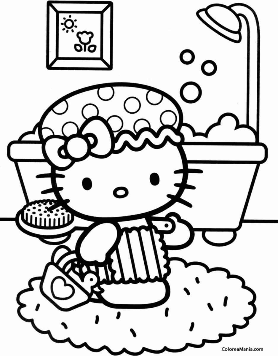 Colorear hello kitty en el cuarto de bao hello kitty for Cuarto para colorear