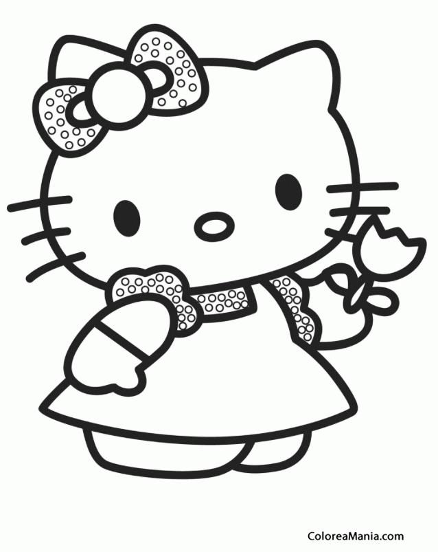 Colorear Kitty nos muestra un tulipán (Hello Kitty), dibujo para ...