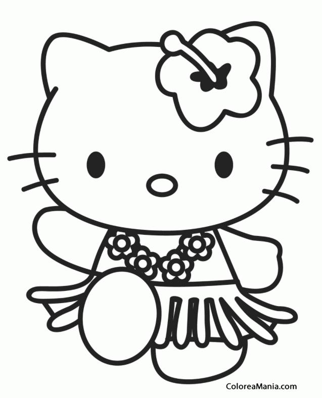 Colorear Kitty Con Falda Hawaiana Hello Kitty Dibujo Para
