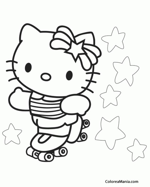 Colorear Kitty Patina Sobre Ruedas Hello Kitty Dibujo Para